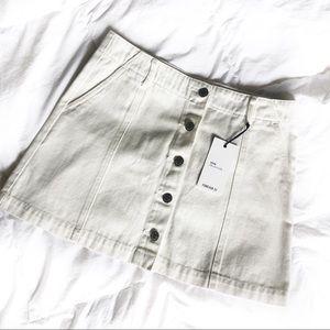 NWT Forever 21 white denim mini skirt